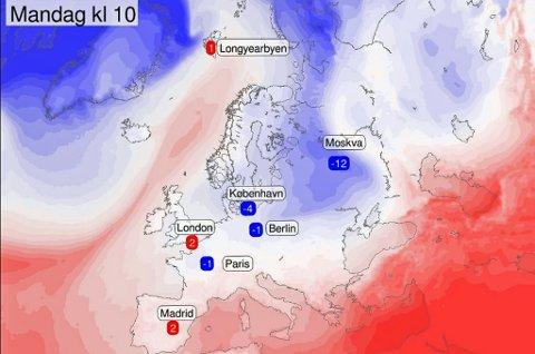 VARMT I NORD: Varmluft fra havet strømmer inn over Norges-kysten, samtidig har en kaldfront lagt seg over kontinentet. Det har ført til lave temperaturer i mange europiske storbyer.