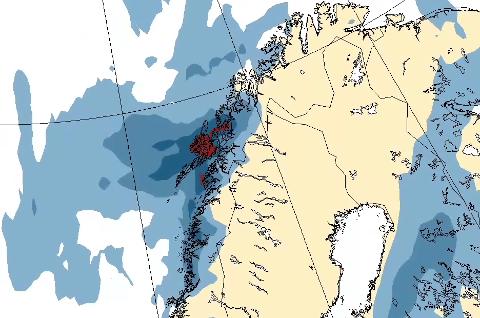 NEDBØR: Slik ser den siste værprognosen fra StormGeo ut. Den viser nedbøren som kommer inn julaften.  GRAFIKK: StormGeo
