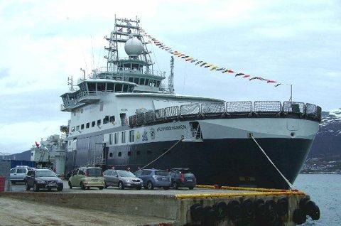 PÅ VERKSTED: Forskningsskipet «Kronprins Haakon» er forhåpentligvis snart friskmeldt etter verkstedopphold. Her er skipet ved kai i Breivika i fjor.