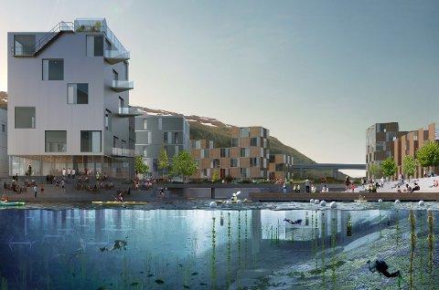 STORE PLANER: Slik ser Tromsø kommune for seg at framtidens Nordbyen kan bli seende ut. Fylkeskommunen er imidlertid bekymret for de negative konsekvensene av det foreløpige planforslaget.