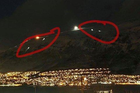 BEKYMRET: Ole C. Salomonsen tok dette bildet fra stuevinduet hjemme på Tromsøya. I løpet av onsdag ettermiddag og kveld så han flere skikjørere som kjørte langt utenfor merket skiløype og ut i skredområdet.