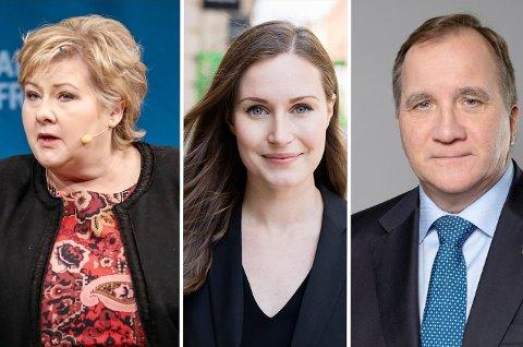 TOPPMØTE: Statsminister Erna Solberg møter sine nordiske kollegaer, Finlands statsminister Sanna Marin og Sveriges statsminister Stefan Löfven, under den arktiske konferansen Arctic Frontiers.