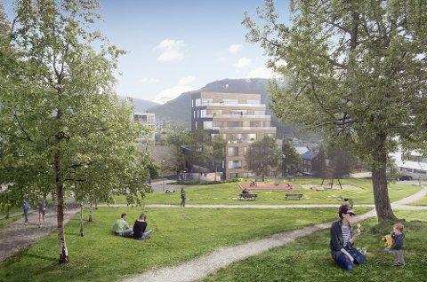 Kongeparken skal rustes opp for å gi gode utearealer for utbyggingen.