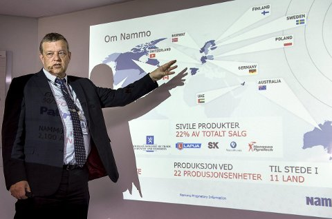 MOT NYE HØYDER: Konsernsjef Morten Brandtzæg i Nammo AS under en åresentasjon i 2016.