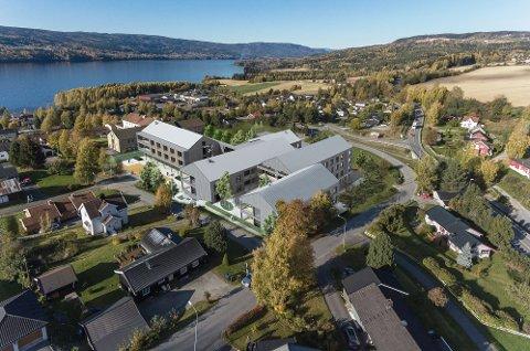 NYE HOVLI: Slik skal nye Hovli bli og framstå i landskapet ved Randsfjorden i Søndre Land. Tre store entreprenørfirmaer konkurrerer om å få titalentreprisen på prosjektet.