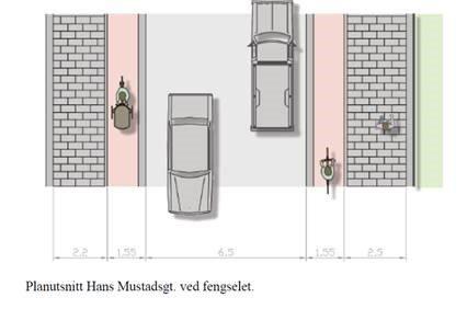Slik kan Hans Mustads gate se ut etter at en ny løsning for gang og sykkelveg er på plass. Illustrasjon: Statens vegvesen