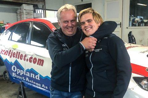 Geir Helge Frøslid og sønnen Håkon Sveen Frøslid er rivaler i rallyløypa, men er kompanjonger i familiebedriften Oppland Bygg & Anlegg.