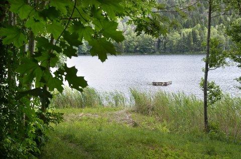 ET MÅL for Svømmeturen: Denne badeflåten ligger på Pollevann. Badeflåten på Tangentjern på Siggerud er også et populært samlingspunkt. FOTO: KARI KLØVSTAD