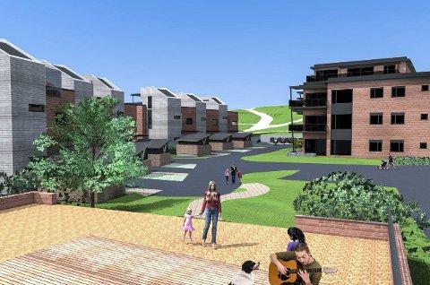 Øvre Verksgård: Den nye bebyggelsenes arkitektoniske uttrykk skal tilpasses det bevaringsverdige kulturmiljøet som grenser inntil området. Det er regulert inn gode arealer til uteopphold og lekeplass, samt gangveier og gangstier. Tegning: PV Arkitekter