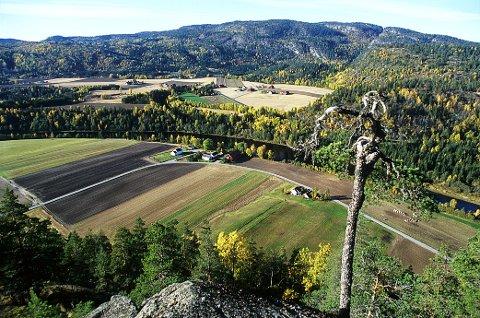 Utsikt fra Hvarneskollen sørvestover mot Hvarnes kirke, Odberg-gårdene og Vettakollen.