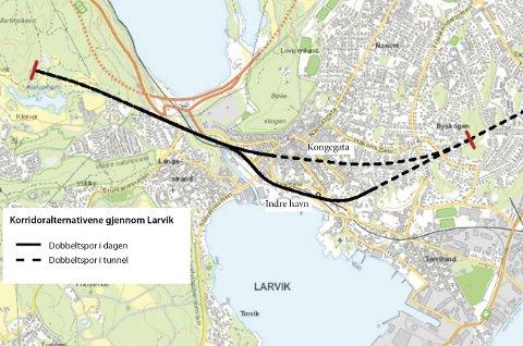 Ikke over Torstrand: Nytt dobbeltspor gjennom Larvik skal ikke gå over Torstrand. I begge korridorene som utredes, Kongegata og Indre Havn, går dobbeltsporet i tunnel fra Lågen frem til ny stasjonsplassering, skriver prosjektsjef i Bane NOR, Hanne Sophie Solhaug.Tegning: Bane NOR