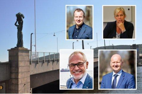 En rekke ordførere i Vestfold og Telemark har bedt Drammen bystyre om å bestemme seg om bybrua. Blant de urolige er Telemarks fylkesordfører Sven Tore Løkslid (øverst), ordfører i Larvik, Rune Høiseth, kollegaen Rune Hogsnes i Vestfold og ordfører i Sande, Elin Weggesrud.