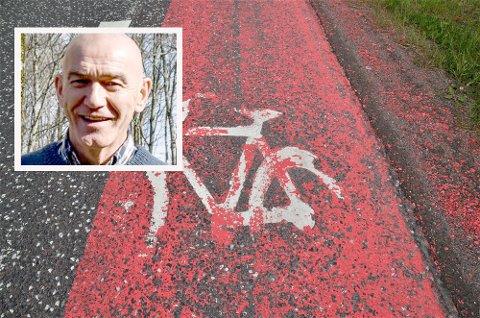 FORURENSNING: Olav Nordheim sier malingsflakene fra sykkelfeltene er forurensning og spør om flakene kan gjøre miljøskade.