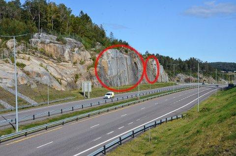 SKAL SIKRES: Dette fjellpartiet (ringene) ved Bommestad skal nå sikres med bolter.