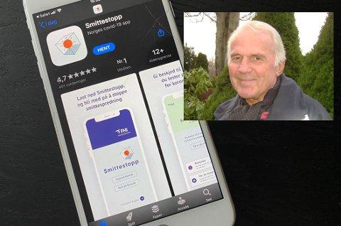 SMITTESTOPP: Jonny Skotheim er frustrert over at han ikke kan bruke den nye smittestopp-appen fordi han har en eldre Iphone.