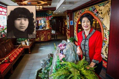 FRA KINA TIL LARVIK: Lin Ping Xia la ut på sitt livs reise da hun som 18-åring (innfelt) reiste fra Kina til Norge. I 32 år har hun jobbet som daglig leder på China City og er et velkjent ansikt i Larvik.