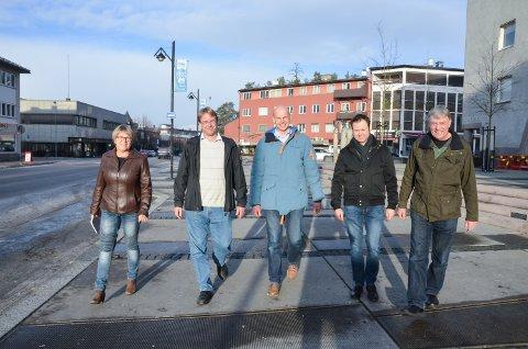 0+: Vigdis Osbak (til venstre), Nils Richard Melby, Joakim Ekseth, Yngve Sætre, alle Høyre og Arnfinn Uthus (Sp) er overbevist om at de har valgt riktig strategi for vegsystemet i Elverum,