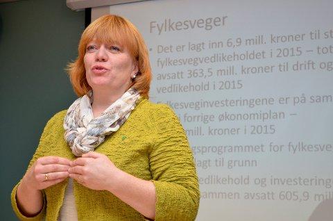 SIER JA: Fylkesråd Anne Karin Torp Adolfsen (Ap) støtter forslaget om å utrede vegprising. (Foto: Bjørn-Frode Løvlund)