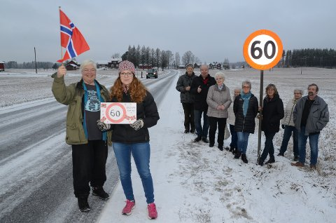GRUNN TIL JUBEL: Beboere og støttespillere feiret torsdag at det nå er forlenget 60-sone på fylkesveg 206 i Skalbukilen på Åsnes Finnskog. Foran ser vi to av beboerne som har stått på, Rita Fossmo, til venstre, og Marianne Nymoen Lien.