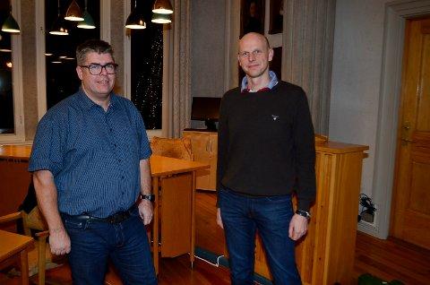 UENIGE: Fra venstre Tor Kristian Godlien (Ap) og Joakim Ekseth (H) er uenige når det gjelder framdriften i saken vedrørende skole- og barnehagestruktur.