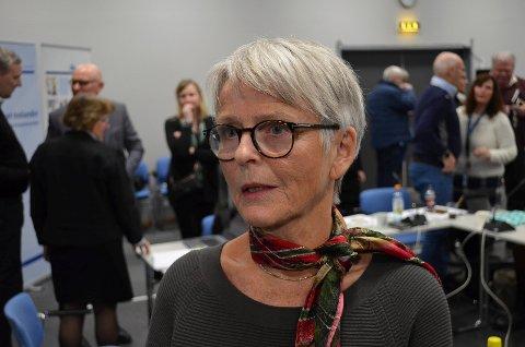 TALTE: Avtroppende styreleder i Sykehuset Innlandet, Anne Enger, var klar på at man måtte holde fast ved målbildet Mjøssykehu ved Mjøsbrua da hun åpnet Perspektivkonferansen.