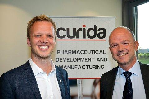 KLART MÅL: Både Curida-sjef Leif Rune Skymoen og NHO-direktør Ole Erik Almlid (til høyre) har et klart mål om økt nasjonal legemiddelproduksjon, noe som kan gi flere arbeidsplasser i Elverum.