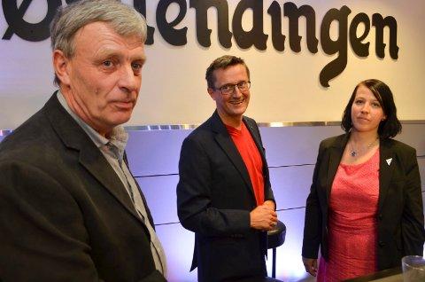 KRANGLET PÅ NETT: Fra venstre Arnfinn Uthus (Sp), Ingvar Midthun (Ap) og Eldri Svisdal (SV) på en valgdebatt tidligere. Onsdag var det steile fronter mellom Uthus på den ene siden og Midthun/Svisdal på den andre siden i det digitale kommunestyremøtet..