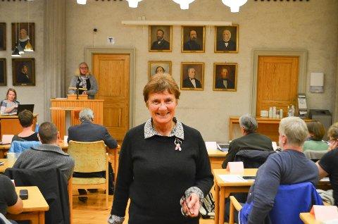 KRAFTIG PROTEST: Grete Nordbæk, leder i Elverum kvinne- og familielag, framførte en kraftig protest i kommunestyret mot boligblokkprosjektet Elverhøi III ved Galgebergparken.