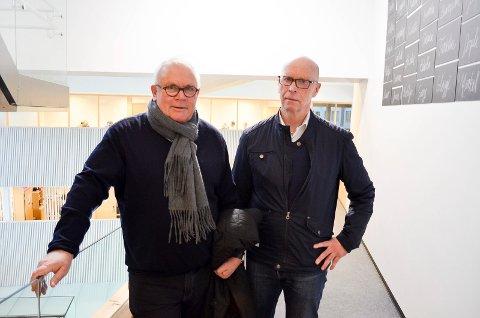 INTERESSERT: Styreleder Tron Sanderud (til høyre) i Utstillingsplassen Eiendom, her sammen med gründer og nå styremedlem Terje Haugan, sier selskapet kan være interessert i å bidra til å realisere en svømmehall med badelandfunksjoner ved Terningen Arena.