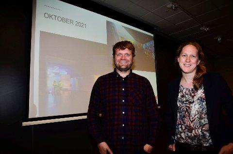 UTVIDELSE: Prosjektleder hos Veidekke Bjarte Hegrenæs og assisterende prosjektleder hos Statsbygg, Line Bull Enger, gleder seg til å sette i gang med Nasjonalbibliotekets utvidelse inne i Mofjellet. I oktober 2021 skal det nye anlegget stå ferdig til bruk.