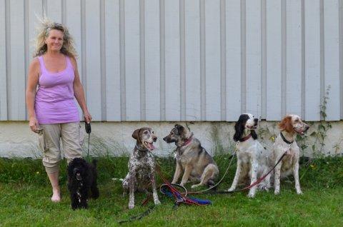 Siri Schreiner driver Vilden Hundepensjonat, men tar også inn katter. Hun er glad for at folk er blitt flinkere til ordne tilsyn til dyrene sine når de reiser bort. Her er hun sammen med både feriegjester og fastboende firbente.