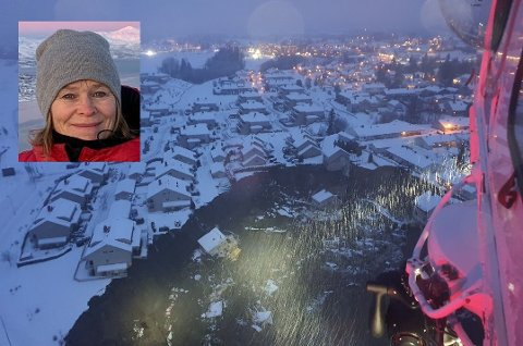 Torill Sæterstad (innfelt) fra Selfors flyttet til Gjerdrum i 2017. Hun bor under tre kilometer fra raset og ble sjokkert da hun våknet til de dramatiske nyhetene onsdag morgen.