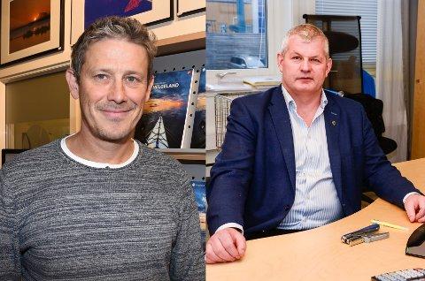 Torbjørn Tråslett (t.v.) som er leder i Helgeland Reiseliv, tror det kommer til å gå seg fint til. Rådmann i Lurøy, Karl-Anton Swensen, sier mulige samarbeidsmåter framover i tid er noe som diskuteres.