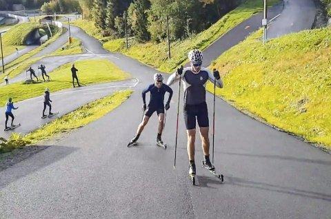 Preben Horven, B&Y IL, er fornøyd med oppkjøringa til en ny langrennssesong. Her på trening med skolen i Trøndelag. – Jeg har fått trent bra gjennom sommeren, sier han.