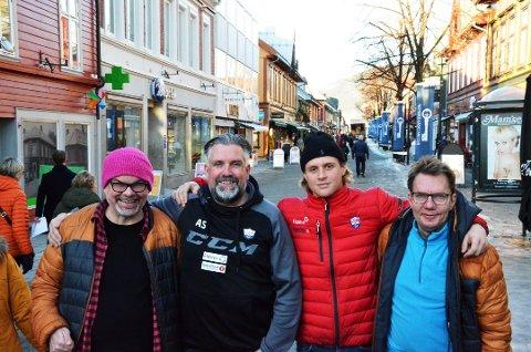 PRIDE: Lillehammer Ishockeyklubb og Vinterpride går sammen om å arrangere hockeykamp til hyllest for homokampen. Da blir det dragshow i Eidsiva Arena. Fra venstre: Kjell-Gunnar Nilsen, Atle Svensrud, Thor Jørgen Torp Friestad og Torstein Myromslien.