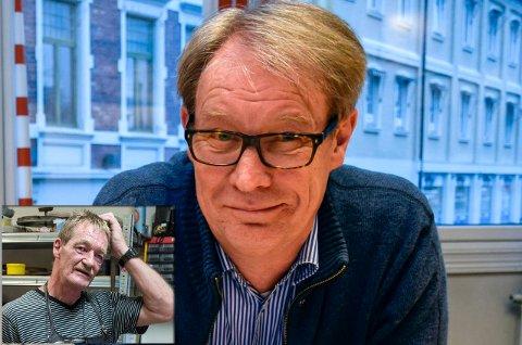 – MANGE REGLER: Det er vanskelig å drive bedrift i Norge, det vet Svein Eystein Lindberg ved Ringerike Etablerersenter alt om. Han synes det er trist at byens eneste skomaker Oddgeir Hippe (innfelt) måtte gi opp.