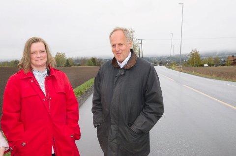 Anne Sandum og utvalgsleder Olav Skinnes endte opp med å støtte prioriteringen av gang- og sykkelvei på fylkesvei 241.