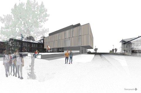 Slik kan nye Ringerike videregående skole bli seende ut. Nå møter forslaget om det nye tilbygget motbør.