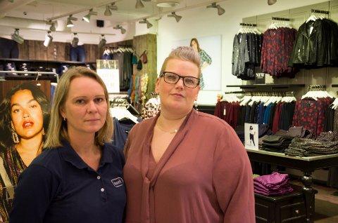 Monica Bergsrud (Norli) og Tine Solberg (Zizzi) er skuffet over at de to butikkene må ut av sine lokaler.