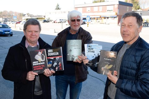 13: Jørn Didriksen (fra venstre), Ådne Frestad og Ole J. Andersen har til sammen skrevet 13 krimbøker.