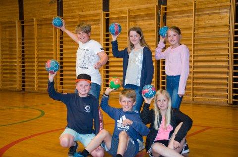 DIGGER HÅNDBALL: Phillip Qvist Aasen (11) (bak til venstre), Hedda Vahlsbråten (11), Helena Kristine Rambech Gundersby (10), Linus Østvang (10) (foran til venstre), Andreas Bagaasen Mork (10) og Eira Gabrielle Velde Spauke (10) liker å spille håndball. De vil gjerne bytte ut dagens gamle gymsal med en skikkelig håndballhall.