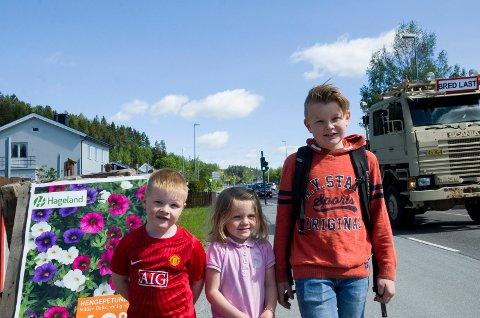 SKOLEBARN: Tvillingene Ida og Haakon (5) og storebror Martin (12) synes ikke noe om at skolebarn må gå langs eller krysse Hønengata på vei til eller fra skolen. Det passerer mange tusen biler hver dag i Hønengata.