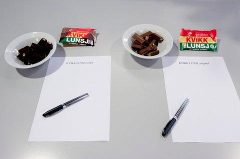 Et knippe personer fra redaksjonen i Mediehuset Nettavisen har smakt på de to Kvikk Lunsj-variantene, sagt sin mening og gitt poeng fra 1 til 6. FOTO: Guro Holmene Mediehuset Nettavisen