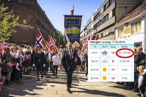 SOL: Slik så det ut i Lillestrøm for to år siden under 17. mai-toget. I år satser meteorologen på det samme.
