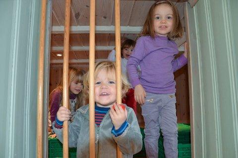 TOPPSCORE: Ella (4),  Jens (2), Irina (2) og Helene (4) er fornøyde barn i Furulia familiebarnehage, som fikk toppscore på familieundersøkelsen 2018.