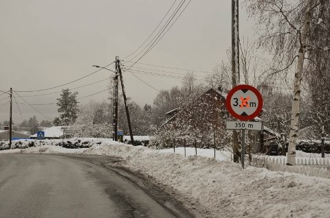 SKILTING: Dette skiltet ved Åsaker undergangen, hindrer ikke passering av biler over 3,6 meter. Nå har VIVA bestilt nye skilter.