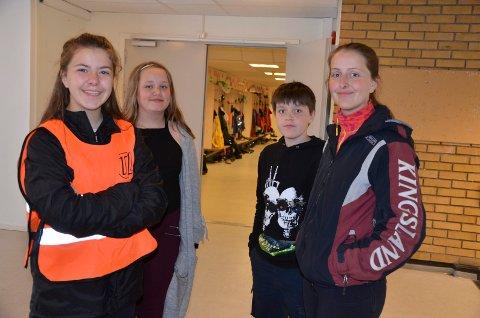 FANESPLEIS: F.v. Sofie Vollstad Saghei, Linnea Josefine Endresen, Julian Breiner Vestli og Katarina Vollstad Saghei er alle enige om at korpset kan trenge en ny fane.
