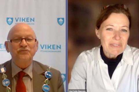 SPØRSMÅL: Fylkesordfører Roger Ryberg (Ap) slapp Kari Sofie Bjørnsen (H) fra Asker til med et spørsmål om utslippsfrie ferger.