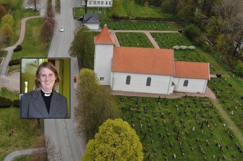ÅPNER FOR BESØK: Sogneprest Benedicte Aass (innfelt) kan igjen ønske velkommen til ordinære gudstjenester i Sande kirke.