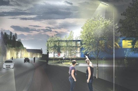 Møbelvarehus: Slik vil Ikea Danebu se ut ved innkjøringen fra E18 når det står klart før jul 2017. Illustrasjon: IK Arkitektur + Urbanisme AS